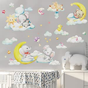 LEYAOYAO Cute Elephant Wall Stickers, Moon Stars Clouds Wall Decals, Lovely Bear Wall Sticker, DIY Removable Home Decoration, Baby Nursery Girl Boy Kids Room Wall Decor, Animals Large 25pcs