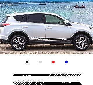 carado Racing Body Side Stripe Skirt Roof Hood Decal Sticker for Toyota RAV4 Vinyl Sport Badge Car Styling Accessories Black 1 Pair