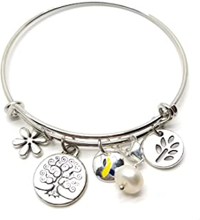 Awareness Bracelet Down Syndrome Ribbon Charms in Gift Box (Down Syndrome)