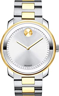 Movado Men's BOLD Metals Two-Tone Watch with a Printed Index Dial, Silver/Grey/Gold (3600431)