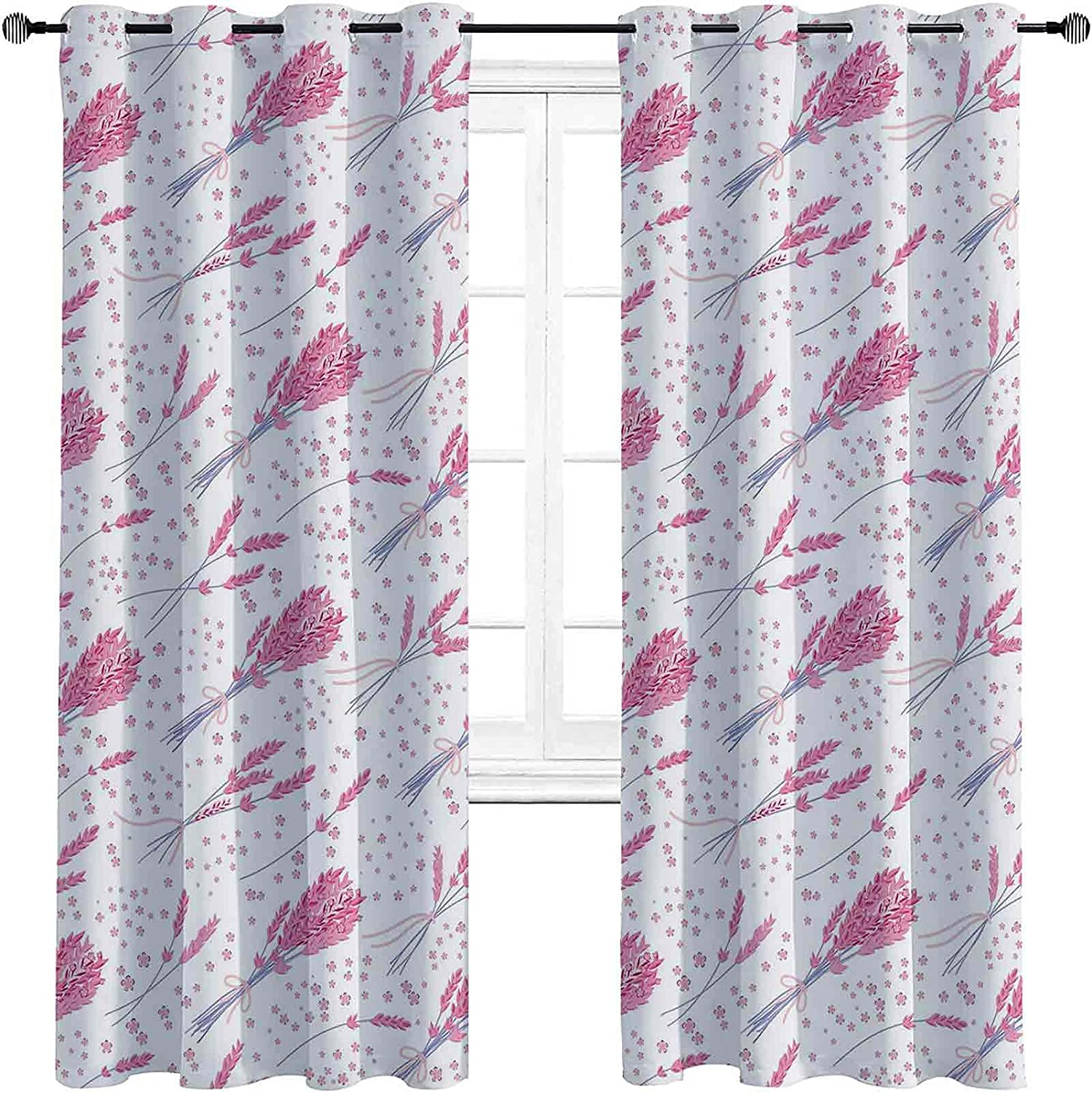 Lavender Blackout Curtains with In a popularity Grommets Vintage Max 54% OFF Hand darken Dr