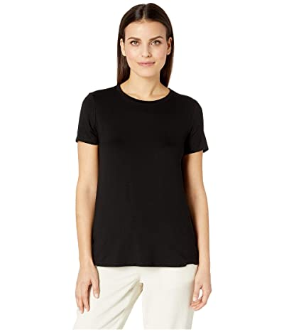 Eileen Fisher Petite Lightweight Viscose Jersey Round Neck Cap Sleeve Tee (Black) Women