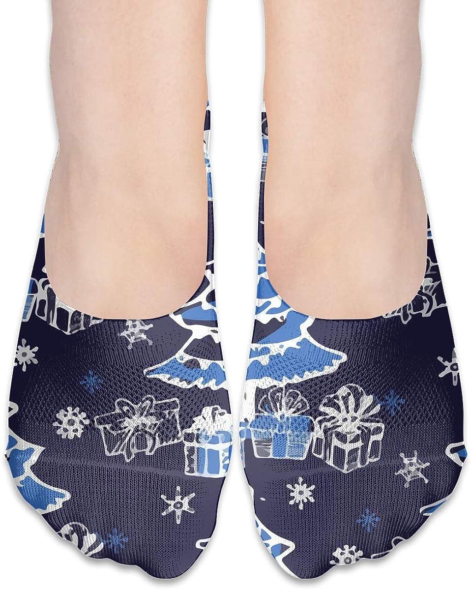 No Show Socks Women Men For Blue Christmas Xmas Tree Flats Cotton Ultra Low Cut Liner Socks Non Slip