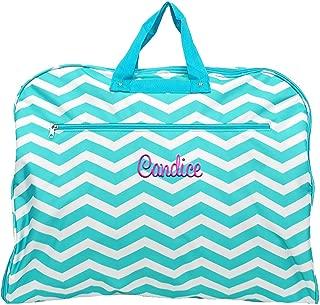 "Monogrammed Aqua Chevron Garment Bags for Dress, Clothing, Suits, Travel or Storage 38"""