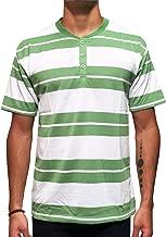 Red Rhino Men's Short Sleeve Henley Crew Neck T-Shirt Yarn Dye Striped
