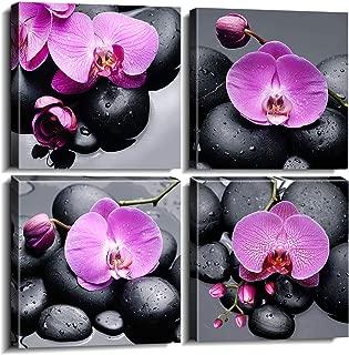 sunfrowerOrchidFramed CanvasPrintsWallArtfor SPA Home Decor4PieceZenPurpleForal Flowers BlackMassageStone Paintings PicturesModernArtworkReadytoHangSet of 4pcs 12