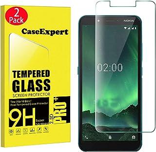 WenTian 2-pack – Nokia C2 härdat glas, CaseExpert® härdat glas kristall klart skärmskydd skydd och poleringstyg för Nokia C2