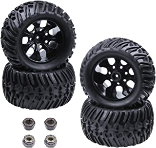 Hobbypark 4pcs RC Tires and Wheel Rims Set Foam Inserts 12mm Hex Hub for 1/10 Scale Off Road Monster Truck