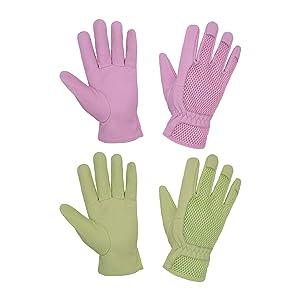 2 Pairs Garden Gloves Women, Pigskin Leather Scratch Resistance Gardening Gloves for Women, Ladies 3D Mesh Comfort Fit Breathable Rose Pruning Gloves (L, Green+Pink)