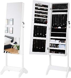Homfa Armoire à Miroir à Bijoux Vertical Meuble à Bijoux avez Miroir Complète aux Pieds en Bois 42.7×40.5×148 cm Blanc