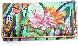 Anuschka Hand Painted Genuine Leather Accordion Flap Wallet (Zebra Garden)