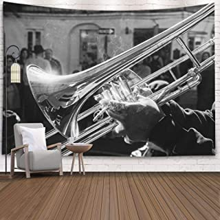Tooperue Wall Hanging Tapestry, Dormitory Tapestry Room Decoration Outdoor 80X60 Inch Musician Playing Jazz Trombone French New Orleans Art Tapestry Beach Blanket Camping Tapestry,Gray Black