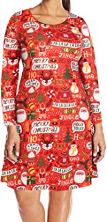Womens Plus Size Party Dress Ugly Christmas Sweater Long Sleeve Skater Dress