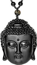 Top Plaza Natural Black Obsidian Healing Crystal Necklaces Fox Talisman Buddha Mala Prayer Pendant Necklace