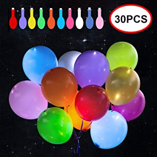 Reliancer 30 Pack LED Balloons 10 Colors Light Up Balloons Flashing Party Night Lights Lasts 12-24 Hours for Glow in the Dark Parties Birthday Wedding Decorations Halloween Christmas Festival Club Bar Concert