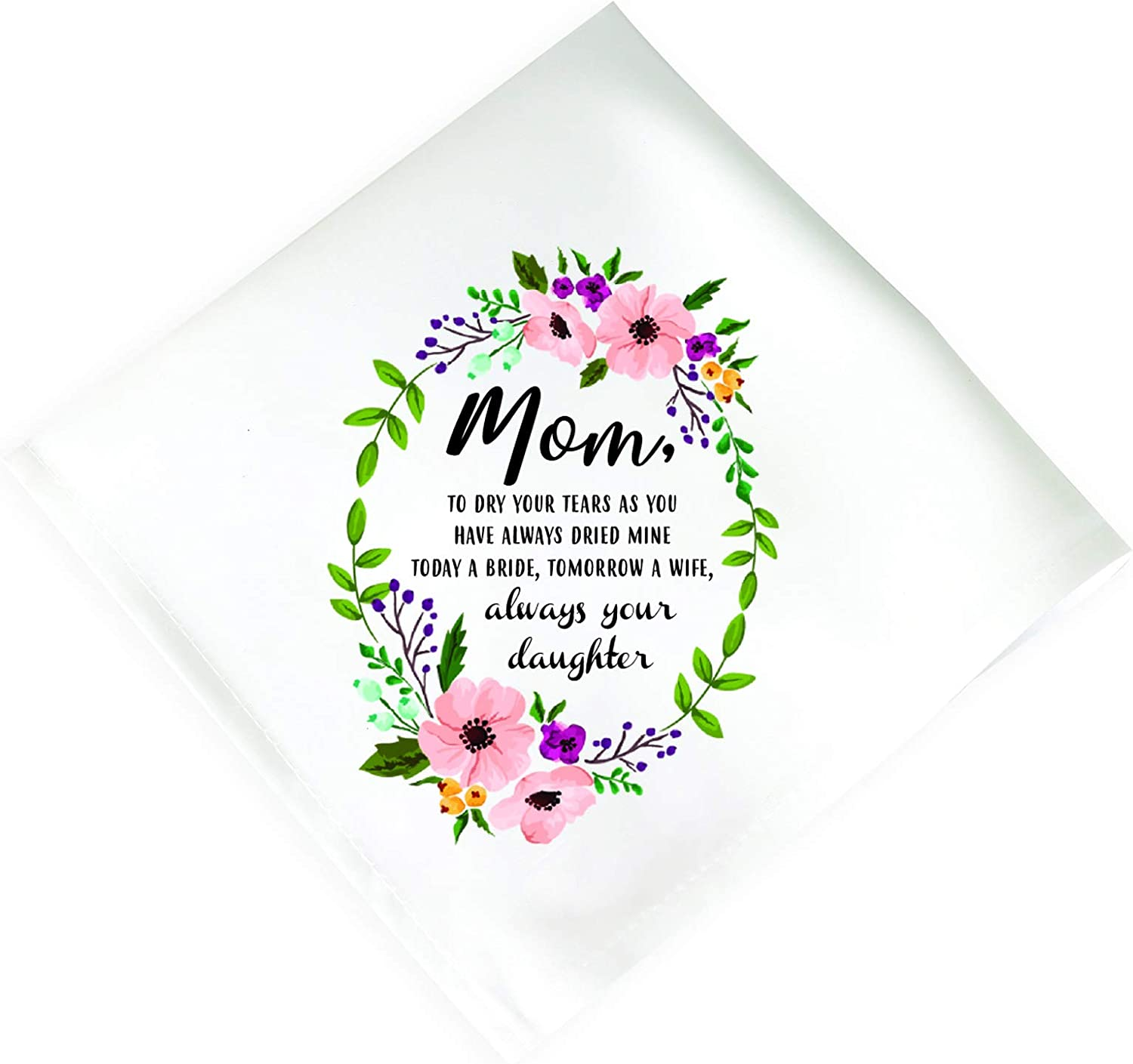 Mother Of The Bride Gift Wedding Handkerchief   Happy Tears Personalized Handkerchief for Women   Wedding Handkerchief For Mom   Mother Gift From Daughter   Thank You Mother In Law Gift From Groom