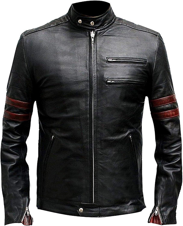 Men's Retro Motorcycle Club Hybrid Mayhem Slim Fit Red Stripes Black Biker Jacket