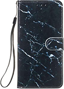 Reevermap Samsung Galaxy A70 Case  Flip Protective Leather Wallet Card Holder Phone Cover for Samsung Galaxy A70 with Magnetic Buckle Build-in Kickstand  White  amp  Black Marble