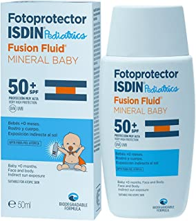 Fotoprotector ISDIN Pediatrics Fusion Fluid Mineral Baby SPF 50+ | Protector Solar para bebés +0 meses | Filtros 100% físicos | Apto para todo tipo de pieles | 50ml