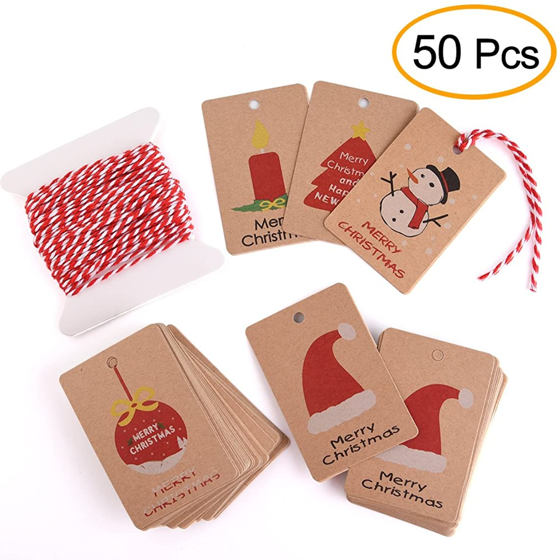Kuuqa 50 Pieces Kraft Paper Christmas Gift Tags for Christmas Gift Wrapping Label with Hanging Rope, 5 Different Design
