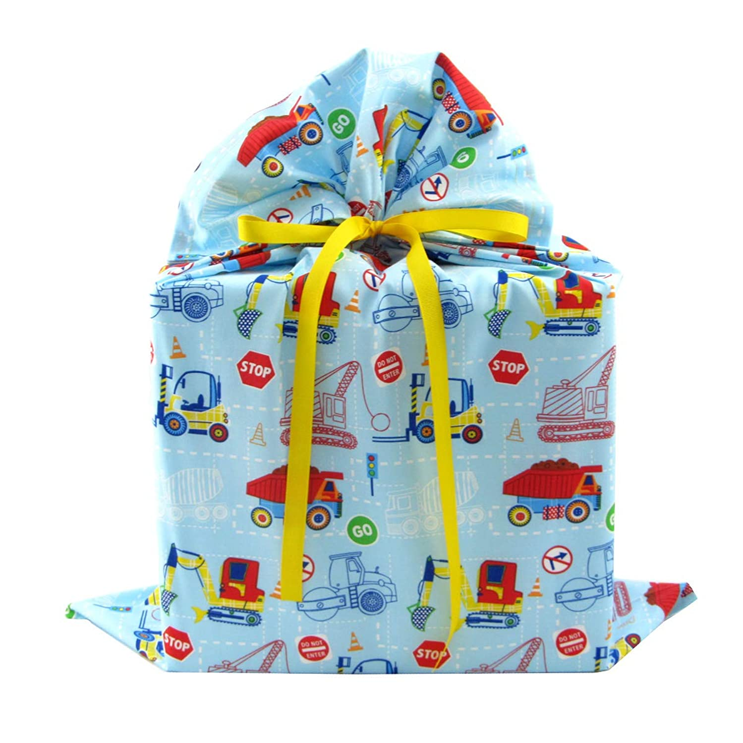 Construction Trucks Reusable Fabric Gift Bag for Child's Birthday or Baby Shower (Large 20 Inches Wide by 27 Inches High)