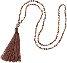 KELITCH Exclusive Crystal Beaded Necklace Luxury Silver Buddha Head Tassel Long Necklace