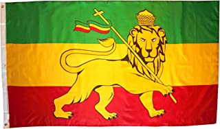 High Supply 3x5 Ethiopia Flag with Lion with Two Brass Grommets, Double Stitched Edges, and 100% Polyester Fabric, 3x5 Ethiopian Flag with Lion, 3x5 Flag of Ethiopia with Lion