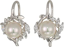 Romance 7 mm Pearls Fish Wire CZ Sterling Silver Earrings