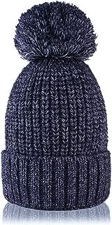 QNLYCZY Womens Winter Beanie Hat Cashmere Knit Cap Warm Wool Lined Skullies Hat Ski Cap Pom Pom