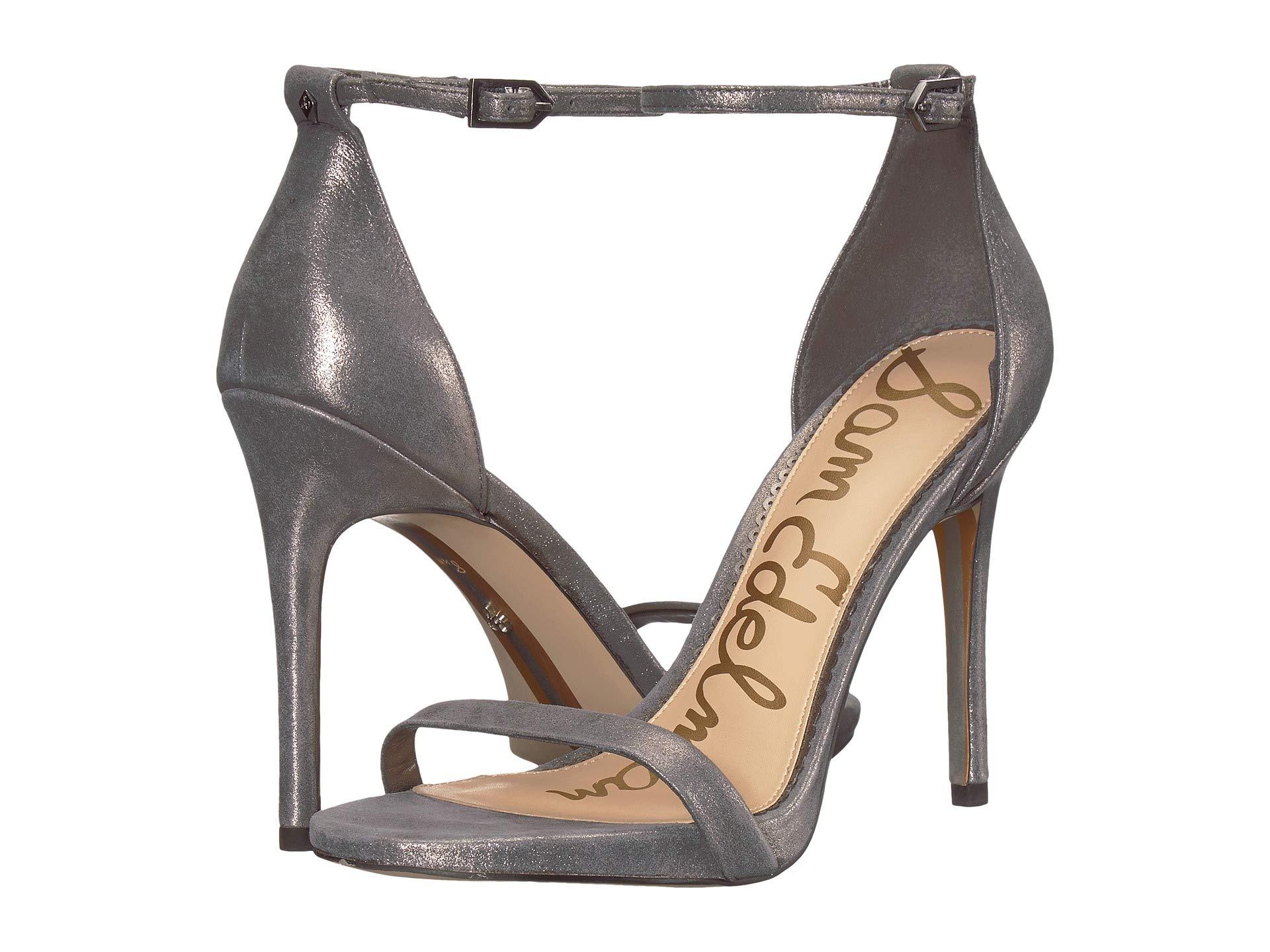 Pewter Metallic Strappy Ariella Sandal Spirit Heel Dark Sam Edelman Leather W17wqpYS