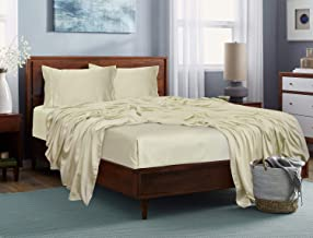 """Linenwalas Thermal Regulating Fitted Bedsheets - Organic Bamboo Bed Sheet with Pillow Cover   Moisture Wicking, Silk Soft Bedsheets - Wrinkle Free Cooling Hotel Bedding - King (72""""x78""""x12) - Ivory"""