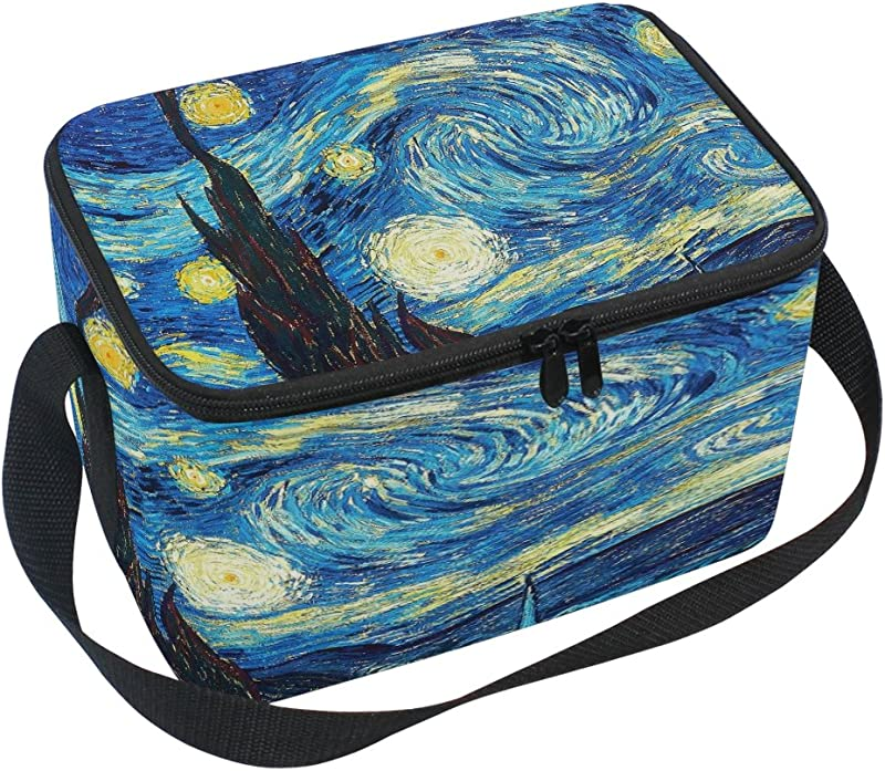 Bettken Van Gogh Starry Sky Photo Custom Insulated Lunch Bag Box Organizer Holder Container Lunch Ice Pack With Shoulder Strap For Work School And Picnic