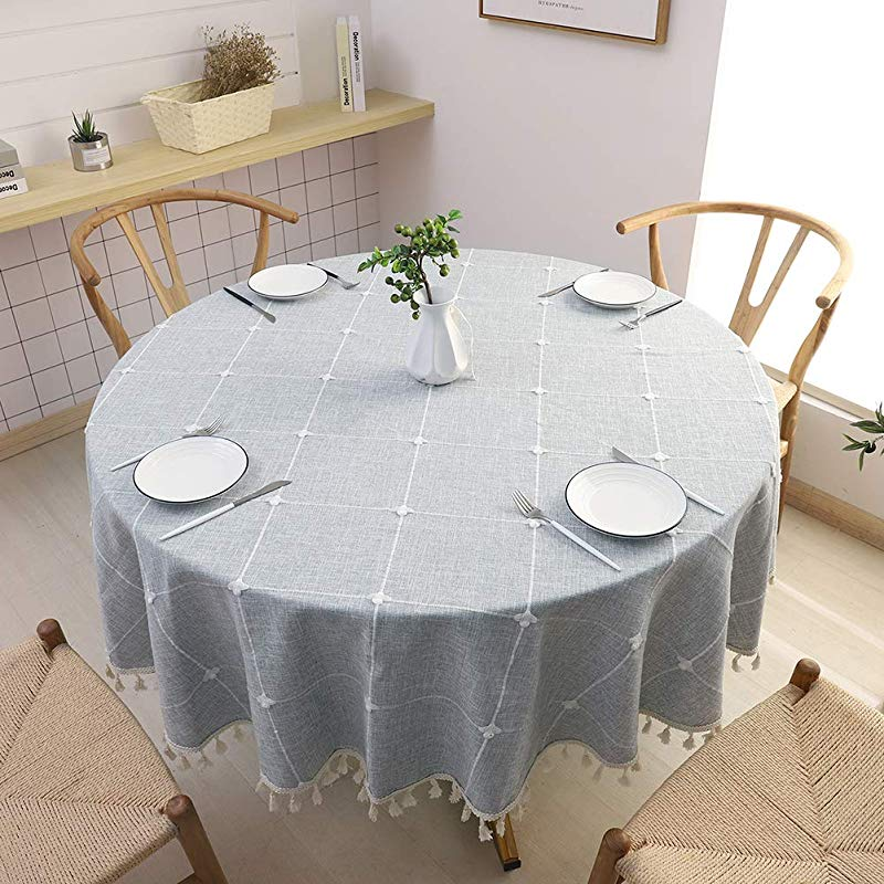 SPRICA Round Tablecloth Cotton Linen Tassel Table Cover For Kitchen Dinner Table Decorative Jacquard Table Desk Cover Diameter 70 Cross Pattern Gray