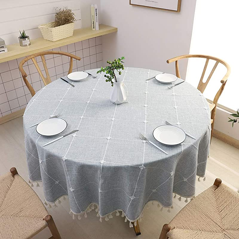 SPRICA Round Tablecloth Cotton Linen Tassel Table Cover For Kitchen Dinner Table Decorative Jacquard Table Desk Cover Diameter 63 Cross Pattern Gray