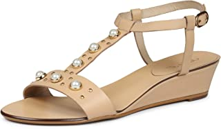 Saint G Womens Nude Leather Pearl Embellished Low Heel Wedges