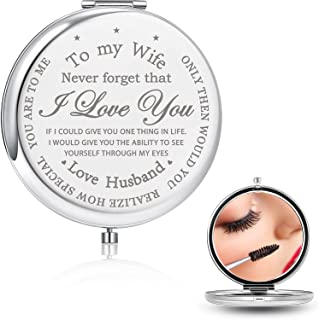 Blulu Gifts for Wife Anniversary from Husband ,To My wife Gift for Her,Engraved Birthday Compact Mirror,Romantic Presents for Wedding, Valentin, Christmas (To My Wife)