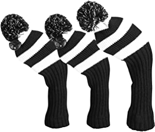 LONGCHAO 3 Pcs Knitted Golf Headcover Driver Cover, Golf Club Wood Head Covers Fit for Driver Wood, Fairway Wood and Hybrid(UT) with Number Tags for Male/Female Golfers (3 Pcs)
