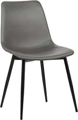 Armen Living Monte Dining Chair in Grey Faux Leather and Auburn Bay Finish 141[並行輸入]