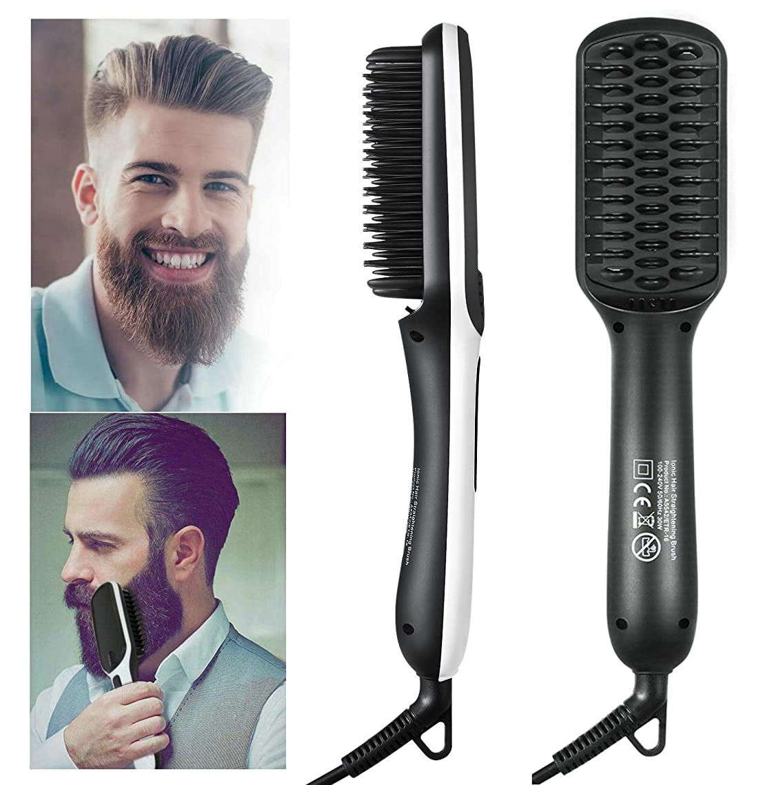 Beard Straightener Comb,Upgrade Version 2019 New Design Hair Straightening Brush for Men and Women Quick Beard and Hair Styler Electric Curling Hair Comb Ionic Dual Voltage (100V-240V) for Home Travel