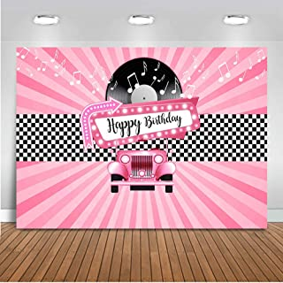Mocsicka Grease Party Backdrop 7x5ft Sock Hop Rock n Roll 50's Party Photo Backdrops 1950's Sock Hop Birthday Party Photography Background