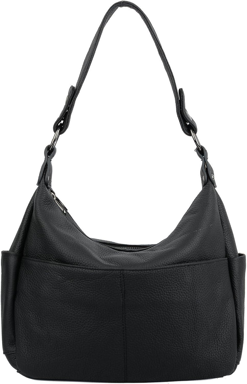 YALUXE Women's Double Zipper Cowhide Leather Style Shoulder Bag
