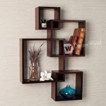 DriftingWood MDF Intersecting Wall Mounted Shelf for Living Room Home Decor Floating Shelves | Set of 4, Brown