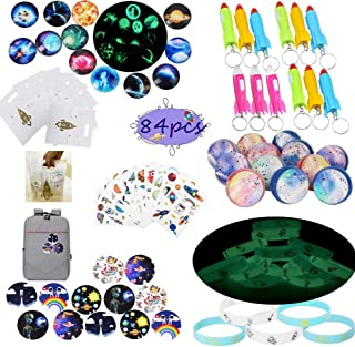 Outer Space Party Favors Supplies,Tattoo Sticker Bouncy Ball Bracelet Space Badge Luminous Ball Helicopter Flashlights Keychain Gift Bag Accessories Kit for Kids Birthday Party Gift,Stocking Stuffers