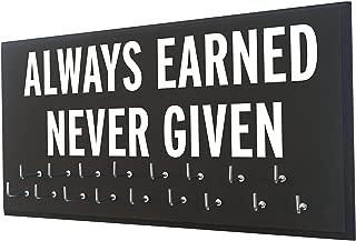 Race bib Medal Display - Always Earned Never Given - Medal Holder - Medal Hanger - Medal Display Rack - Hooks Sport Medal - Athletic Gift Men - Running Accessories
