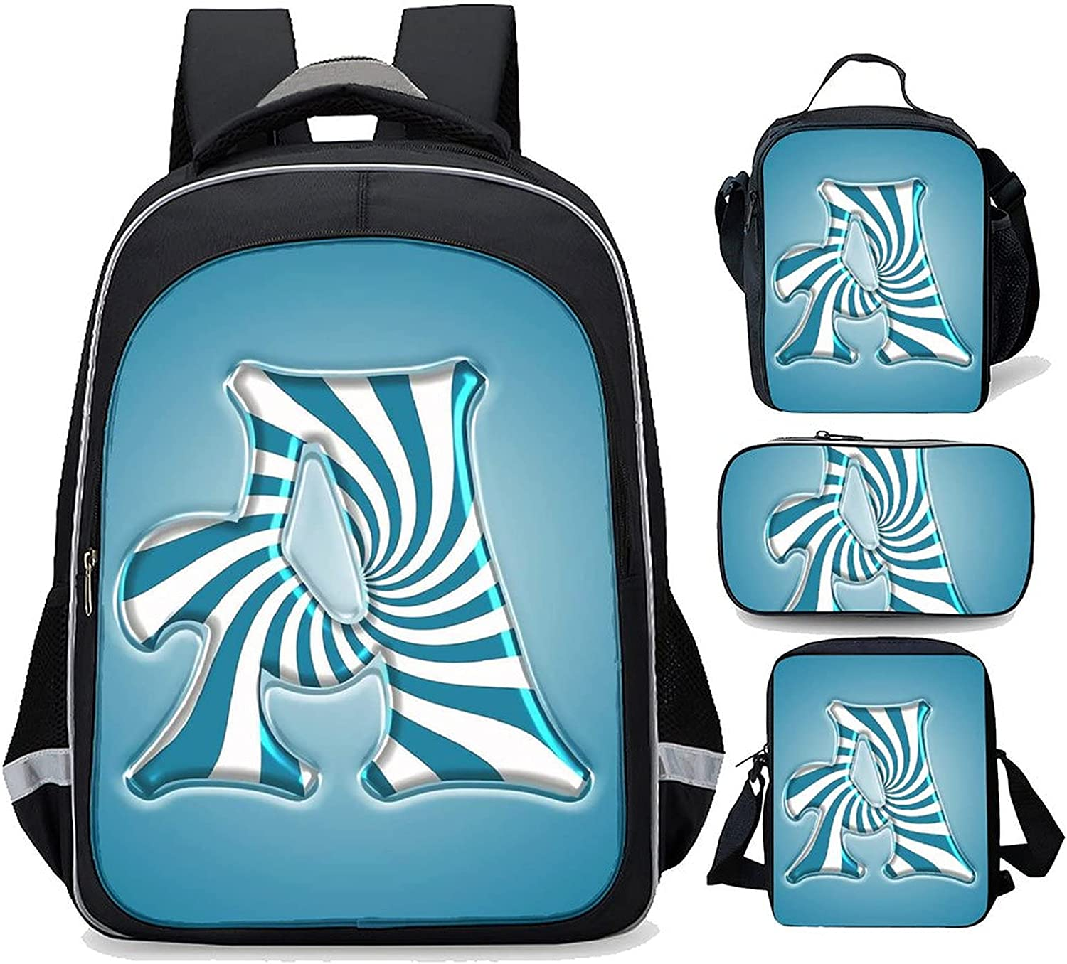 BackpackBlue Letter A MonogramKid School Lunch Backpack overseas Popular product bag