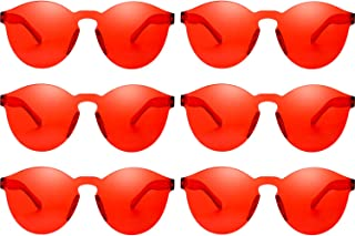 Round Rimless Sunglasses Tinted Eyewear Transparent Candy Color Sunglasses (6 Pieces, Red)