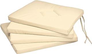 Beautissu Lot de 4 Galettes de Chaise Kim Confortable coloré Idéal pour intérieur extérieur 40x40x3cm Ecru