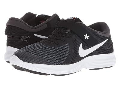 Nike Kids Revolution 4 FlyEase (Little Kid) (Black/White/Anthracite/Total Crimson) Kids Shoes