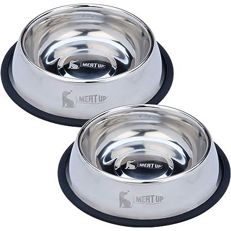 Meat Up Stainless Steel Dog Feeding Bowl, Medium - 700ml (Buy 1 Get 1 Free)