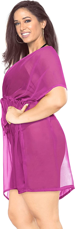LA LEELA Women's Solid Chiffon Deep V Neck Beach Swimwear Short Cover Up Dress